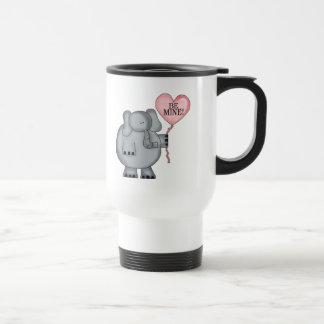 Valentine  Elephant Holding Heart Balloon 15 Oz Stainless Steel Travel Mug