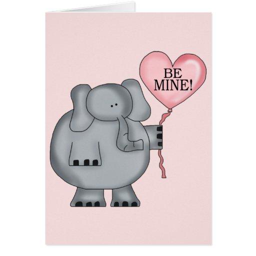 Valentine  Elephant Holding Heart Balloon Cards
