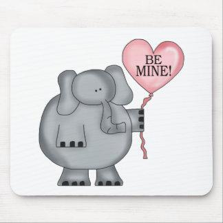 Valentine  Elephant Holding Heart Balloon Mouse Pad