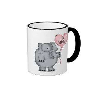 Valentine  Elephant Holding Heart Balloon Ringer Coffee Mug