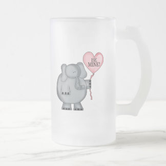 Valentine  Elephant Holding Heart Balloon 16 Oz Frosted Glass Beer Mug