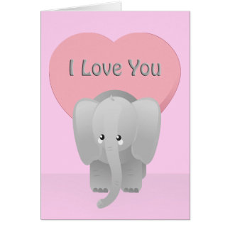 Valentine Elephant Love You Big Pink Greeting Card