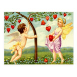 Valentine Fairy and Cherub Gathering Hearts Postcard