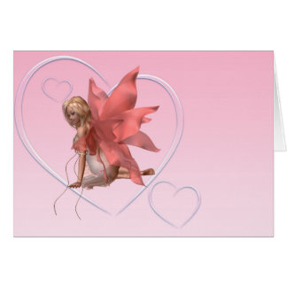 Valentine Fairy and frosted pink hearts - 2 Card