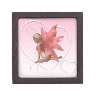 Valentine Fairy and frosted pink hearts - 2 Jewelry Box