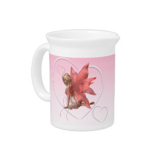 Valentine Fairy and frosted pink hearts - 2 Pitcher
