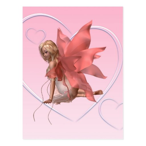 Valentine Fairy and frosted pink hearts - 2 Postcard