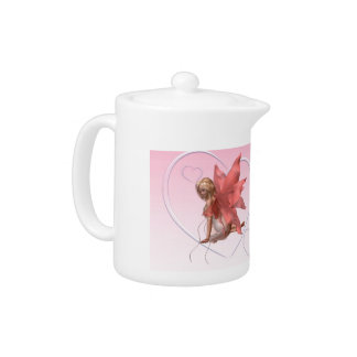 Valentine Fairy and frosted pink hearts - 2 Teapot