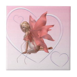 Valentine Fairy and frosted pink hearts - 2 Tile