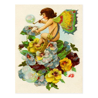 Valentine Fairy Blowing Bubbles Postcard