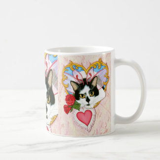 Valentine Fairy Cat Tuxedo Cat Fantasy Art Mug