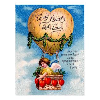 Valentine Fairy in Heart Shaped Hot Air Balloon Postcard