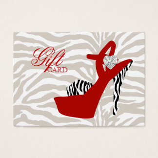 VALENTINE Fashion Gift Card Shoe Zebra Red