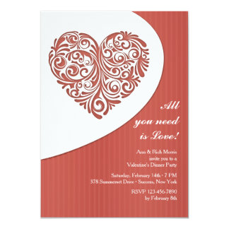 Valentine Filigree Dinner Party Invitation