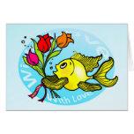 Valentine Fish with love flowers cute fun cartoon Greeting Card