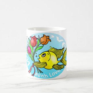 Valentine Fish with love flowers cute fun cartoon Magic Mug