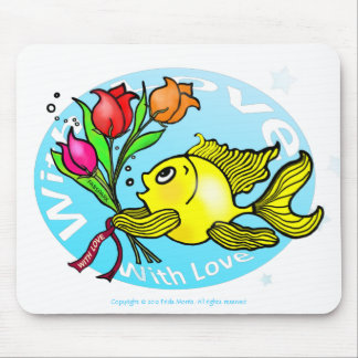 Valentine Fish with love flowers cute fun cartoon Mouse Pad