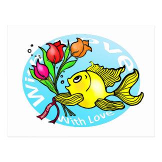 Valentine Fish with love flowers cute fun cartoon Postcard