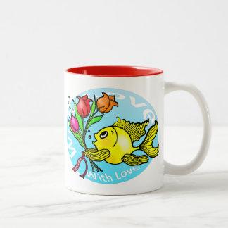 Valentine Fish with love flowers cute fun cartoon Two-Tone Coffee Mug