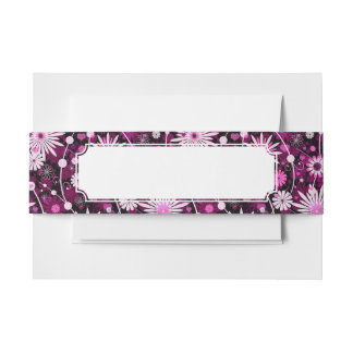 Valentine Floral Pattern Invitation Belly Band