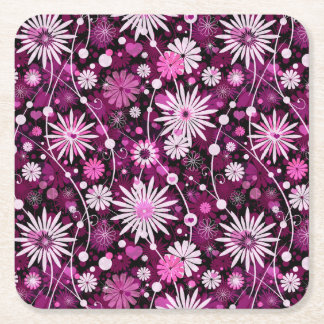 Valentine Floral Pattern Square Paper Coaster