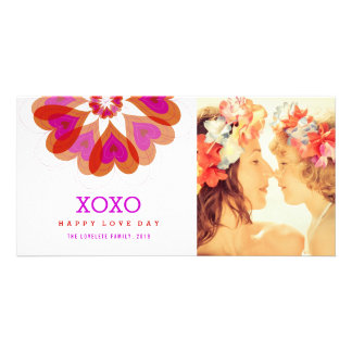 Valentine Flower Love Hearts Greetings Photo Card