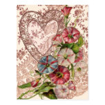 Valentine Flowers And Lace Heart Postcard