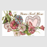 Valentine Flowers And Lace Heart Rectangular Sticker