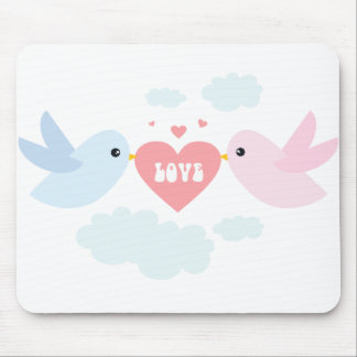 Valentine Flying Love Birds Mouse Pad