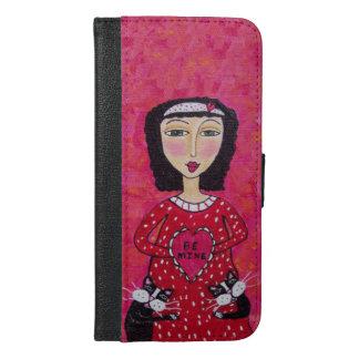 Valentine Folk Art Lady Heart Black Cats Love iPhone 6/6s Plus Wallet Case