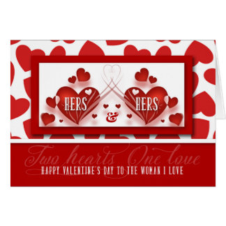 Valentine for Lesbian Life Partner Two Hearts Them Card