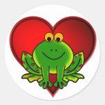 Valentine Frog Classic Round Sticker