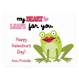 Valentine Frog Heart Leaps Postcard