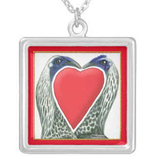 Valentine Game Chickens Silver Plated Necklace