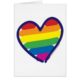Valentine Gay Pride Rainbow Heart Cards