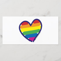 Valentine Gay Pride Rainbow Heart Holiday Card