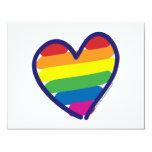 Valentine Gay Pride Rainbow Heart Personalized Invitation