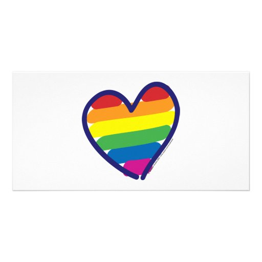 Valentine Gay Pride Rainbow Heart Personalized Photo Card