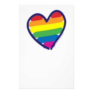 Valentine Gay Pride Rainbow Heart Personalized Stationery