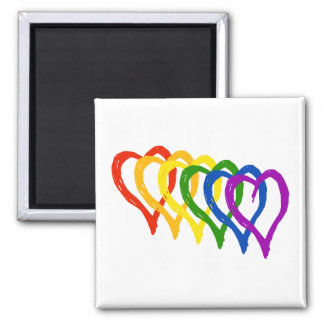 Valentine Gay Pride Rainbow Layered Hearts 2 Inch Square Magnet