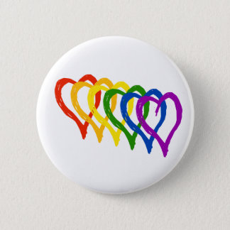 Valentine Gay Pride Rainbow Layered Hearts Button