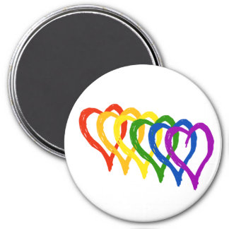 Valentine Gay Pride Rainbow Layered Hearts Refrigerator Magnet
