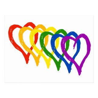 Valentine Gay Pride Rainbow Layered Hearts Postcard