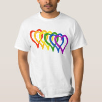 Valentine Gay Pride Rainbow Layered Hearts T-Shirt