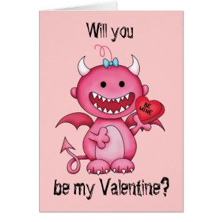 Valentine Girl Devil Card