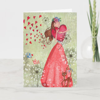 Valentine Girl Love Hearts   Greeting Card