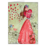 Valentine Girl Love Hearts | Greeting Card at Zazzle