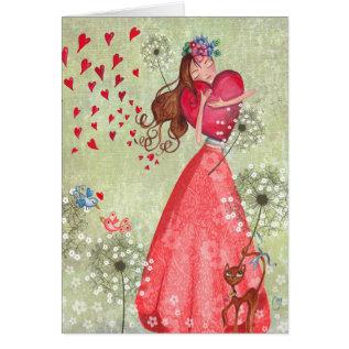 Valentine Girl Love Hearts | Greeting Card at Zazzle