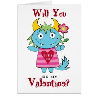 Valentine Girl Monster with Flower Greeting Card