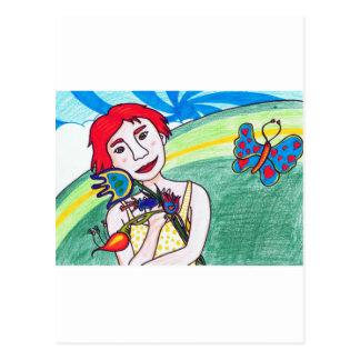 valentine girl postcard